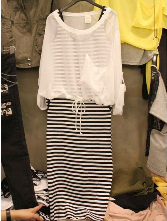 2012-Hot-sales-2012-new-fund-transparent-snow-spins-even-clothing-long-skirt-stripe-two-pieces
