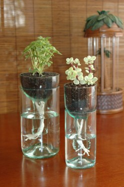 Credit: http://reincarnationsart.com/2012/08/100-ideas-for-upcycling-wine-bottles/