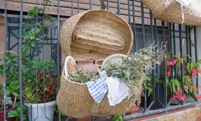 Cos de picnic vintage si/sau geanta de plaja