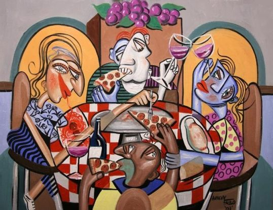 """Anthony Falbo - """"At the pizzeria"""" (pictor cubist american)"""