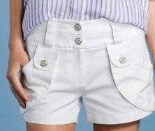 Pantalon alb cu talie inalta