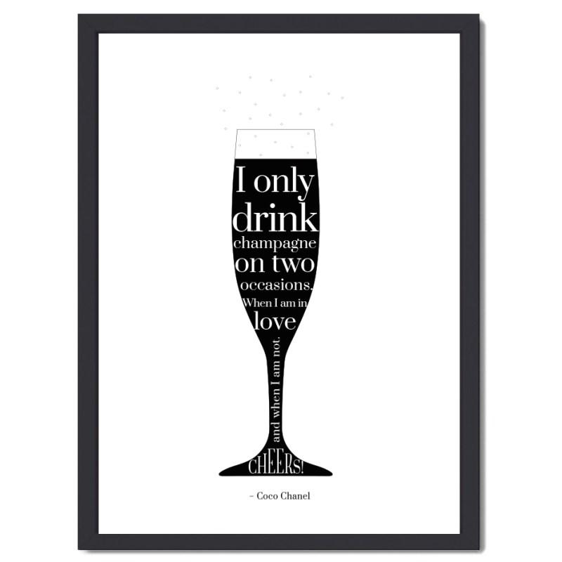 Affisch Champagne svart