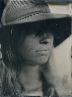 Woman wearing a Hat (18x24cm ambrotype on clear glass)