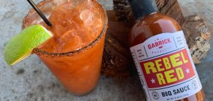 Bloody Mary with rebel red bottle