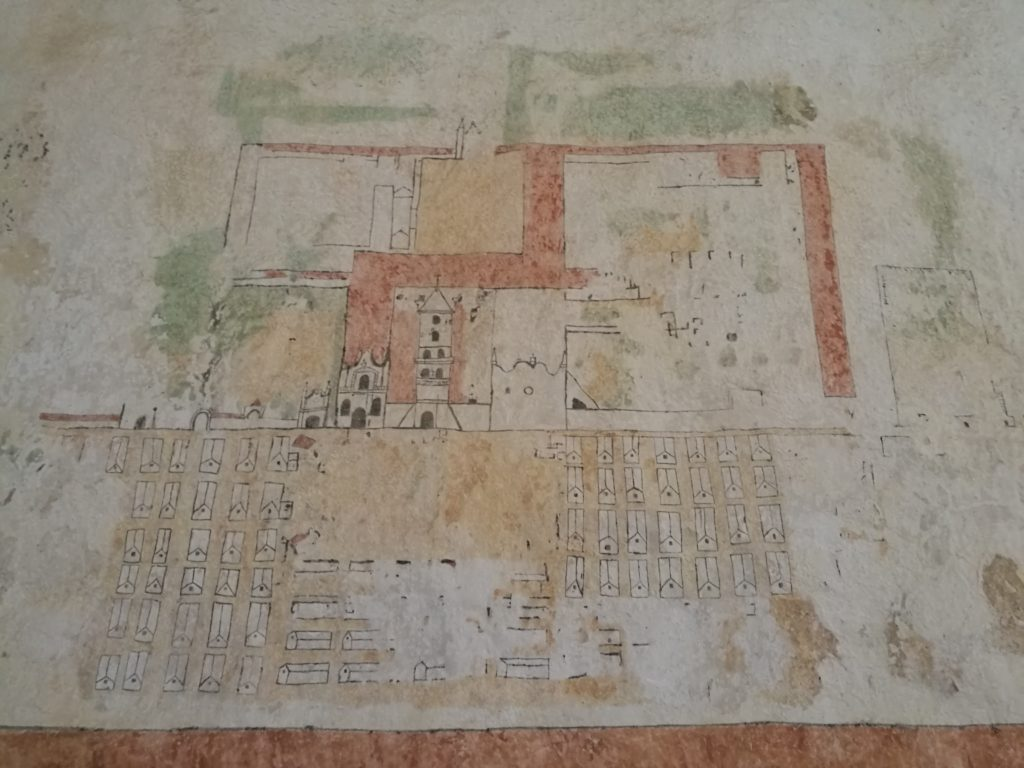 Dibujo de la misión de San José de Chiquitos, según Alcides D'Orbigny en 1831. Expuesto en el Museo de la Iglesia de San José de Chiquitos. Foto: Gabriela Ichaso (2017)