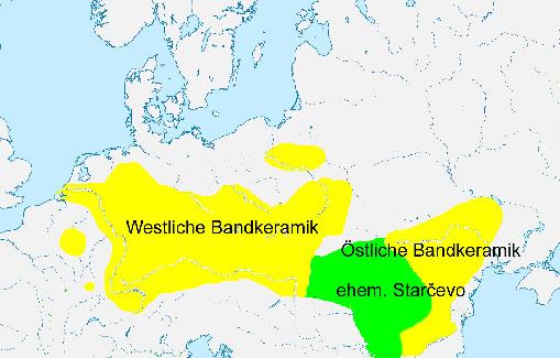 Karte: Verbreitung der Bandkeramischen Kultur in Europa
