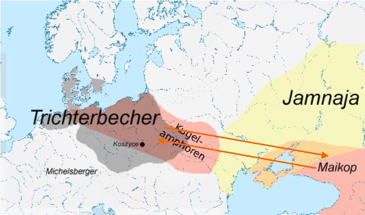 Maikop- formt Trichterbecher- in Kugelamphoren-Kultur um.
