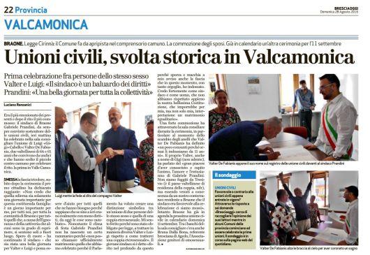 Articolo del Brescia Oggi, Domenica 28 Settebre. Copyright Bresciaoggi