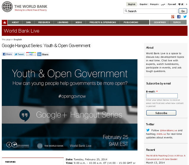 Google Hangout Youth & Open Government - World Bank