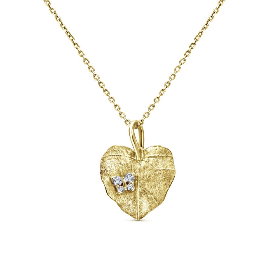 14K yellow gold necklace with a white gold and diamond pavé butterfly landing on a leaf