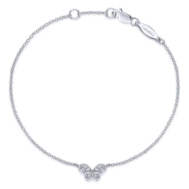 14K white gold chain bracelet adorned with a shimmering pave diamond butterfly