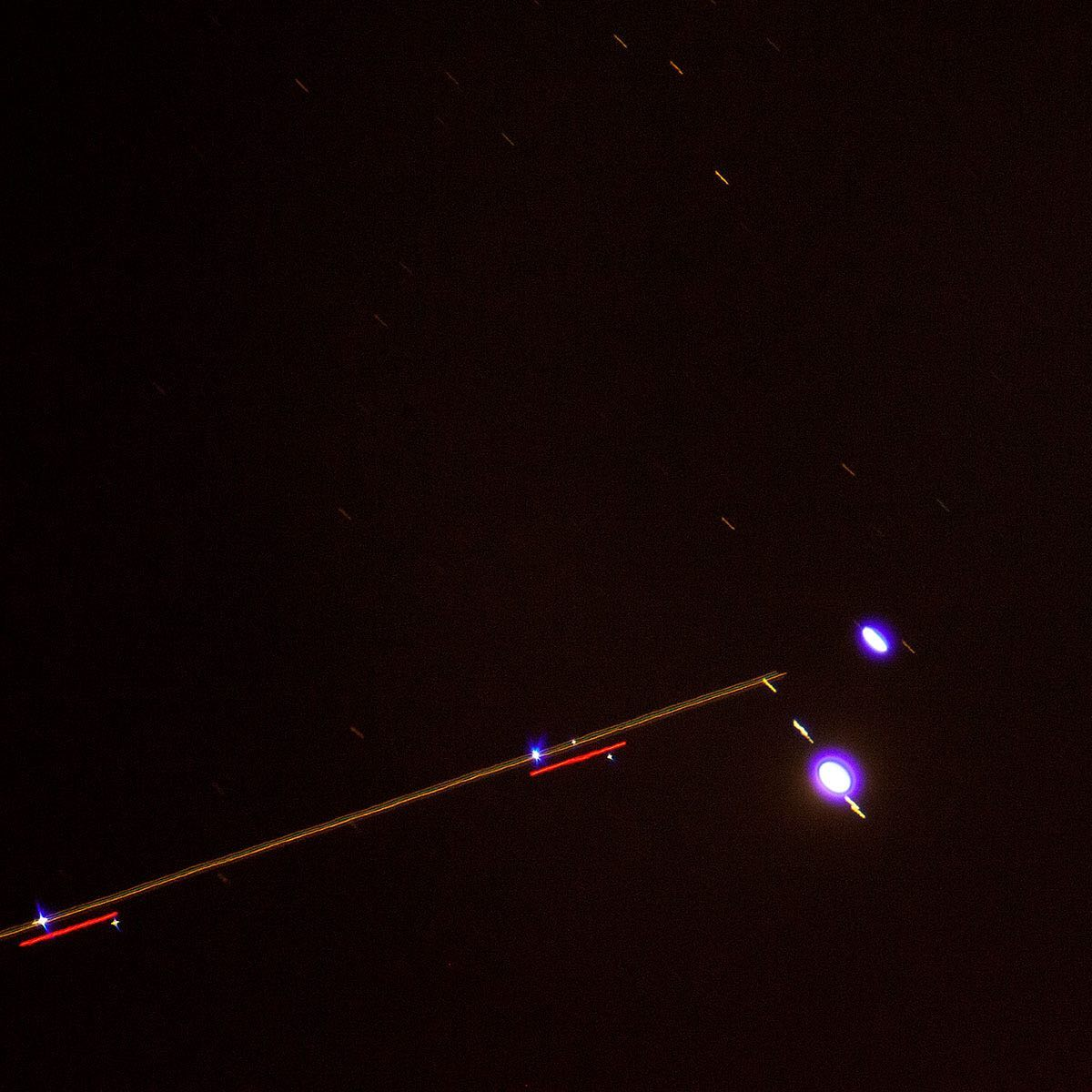Another shot of the Great Conjunction from last night — a plane decided to show up :)