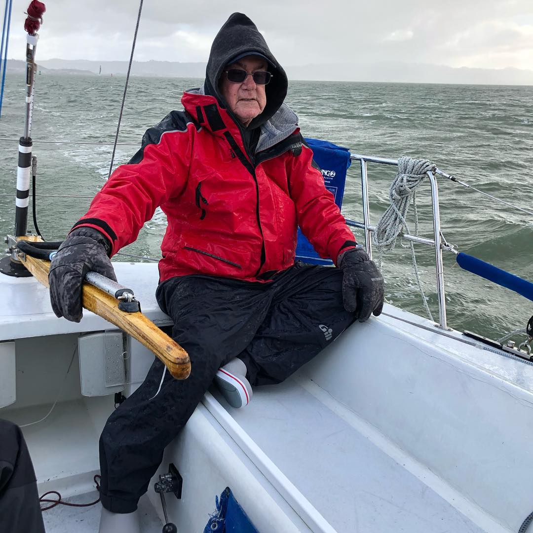 Our fearless skipper Bob with his winter gloves on :)