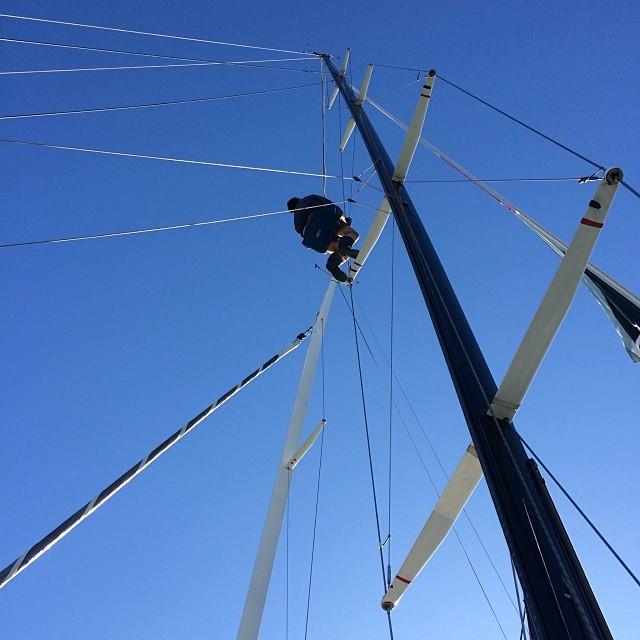 Sending Glen up the mast of Bo+