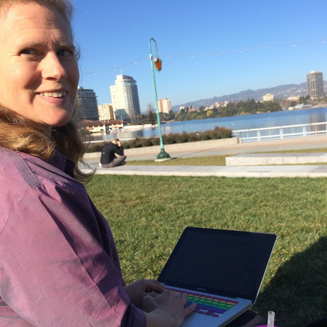 Working with Rachel on her new site in the Friday office next to the lake