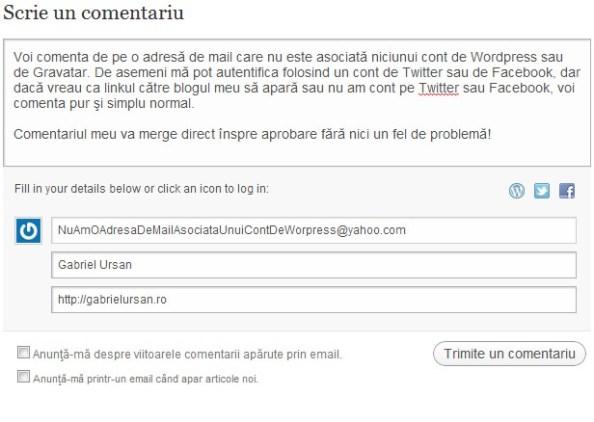 Comentariu de pe adresa de mail neasociata unui cont de WordPress
