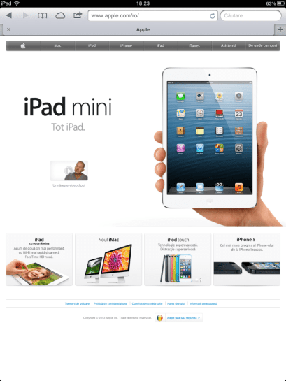 Navigare pe internet iPad mini 1