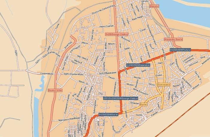 orasul Galati pe harta