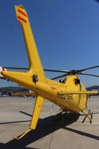El característico botalón de cola de las series AW109/AW119 en un acercamiento (foto: Carlos Ay).