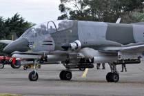 El A-58 Pucará en rodaje previo a su demostración aérea. (Foto: E. Brea)