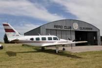 Hangar del Aeroclub Olavarría donde se encontraba el Navajo LV-JXM. (Foto: Esteban Brea)
