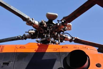 Mástil del rotor principal donde se fijan las palas. (Foto: Andrés Rangugni)