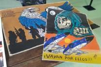 El caricaturista Nany Zazzali estuvo presente con sus trabajos sobre el conflicto de Malvinas. (Foto: Lorenzo Borri)