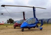Los estilizados girocópteros de origen español ELA 10 Eclipse CC-AQB y AQC (foto: Guillermo Sánchez/Fidaegroup).