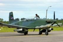 El PC-7U 306 se expuso estáticamente en la Escuela Militar de Aeronáutica de Pando para el Día del Patrimonio (foto: Agustino Alonzo Igarzábal).