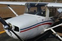 CUA Cessna 150 CC-KUG nose close-up. Notice club logo near the pilot door (photo: Carlos Ay).