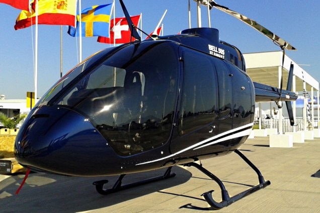 Shortly after its unveiling at the HAI Convention in California, Bell Helicopter's newest creation, the Model 505 Jet Ranger X, day views in the Latin American market at FIDAE 2014 (photo: Carlos Ay).