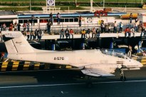 An unconventional venue, the Buenos Aires City autodrome, was adopted for several early-1980s air & space weeks. Noticed here is an IA-58A Pucará demonstrating in front of the pits (photo: Carlos Ay).