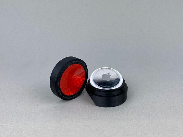 Fahrradhalterung Reflektor für die Sattelstütze airtag eingelegt offen