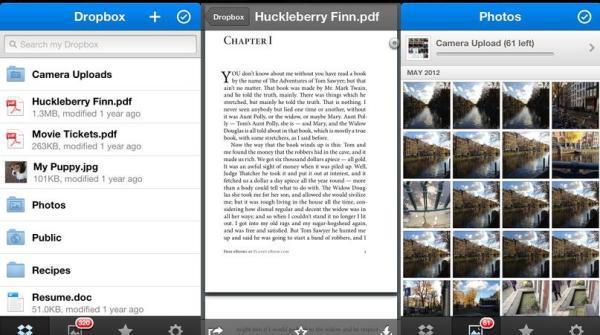 aplicatia Dropbox versiunea 2.1 suport vizualizare fisiere PDF