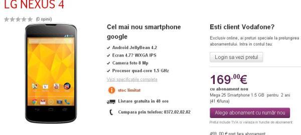 telefon lg nexus 4 oferta vodafone
