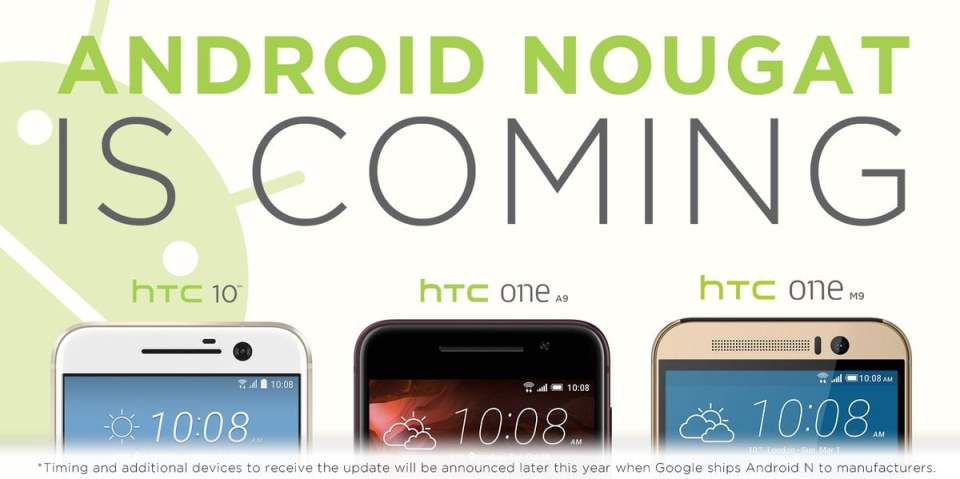 hTC anunta Android Nougat update