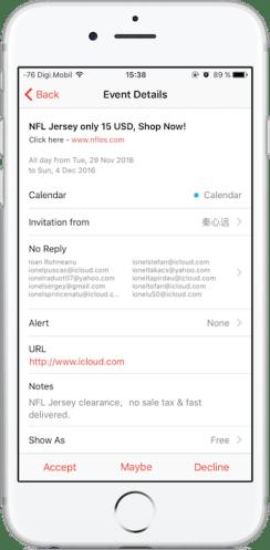 Cum stopam invitatiile spam din aplicatia Calendar