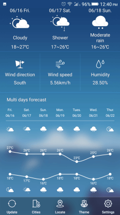 Gionee Weather App detail