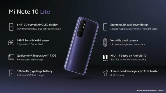 Mi Note 10 Lite Specifications