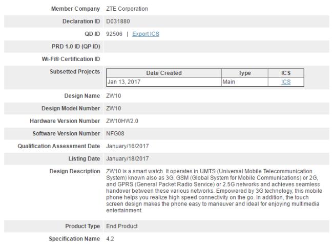 ZTE Quartz smartwatch FCC certification