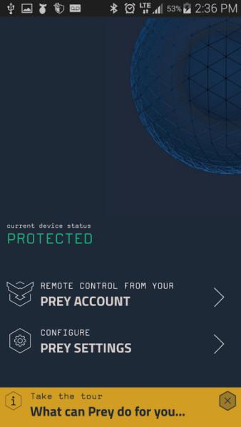 Prey Anti Theft phone locator settings