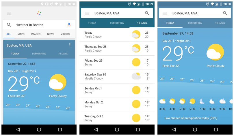 Google weather through Google Assistant
