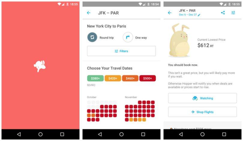 Hopper travel app to book flights