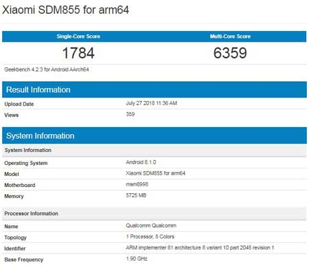 Snapdragon 855 chip entered into mass production with a 7nm process and 5G connectivity, Xiaomi device appeared on Geekbench