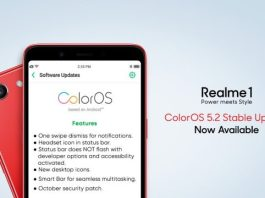 Realme 1 gets ColorOS 5.2 Stable Update with October Security Patch