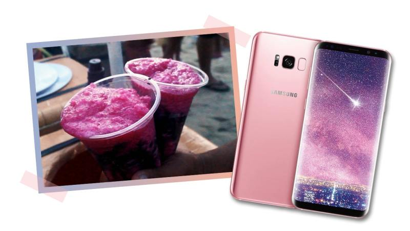 The pink Samsung Galaxy s8+ matches Pinoy dessert skrambol