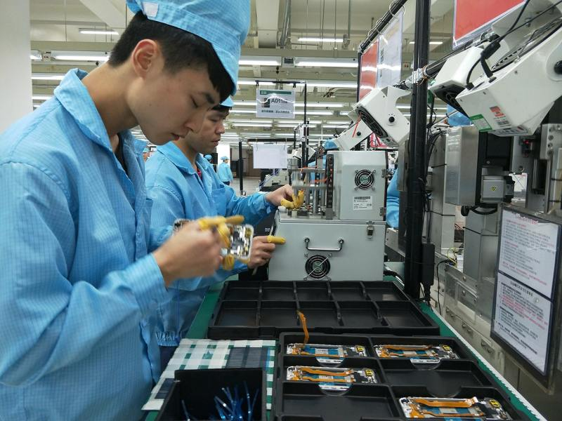 Phone assembly at the OPPO factory in Shenzen, China.