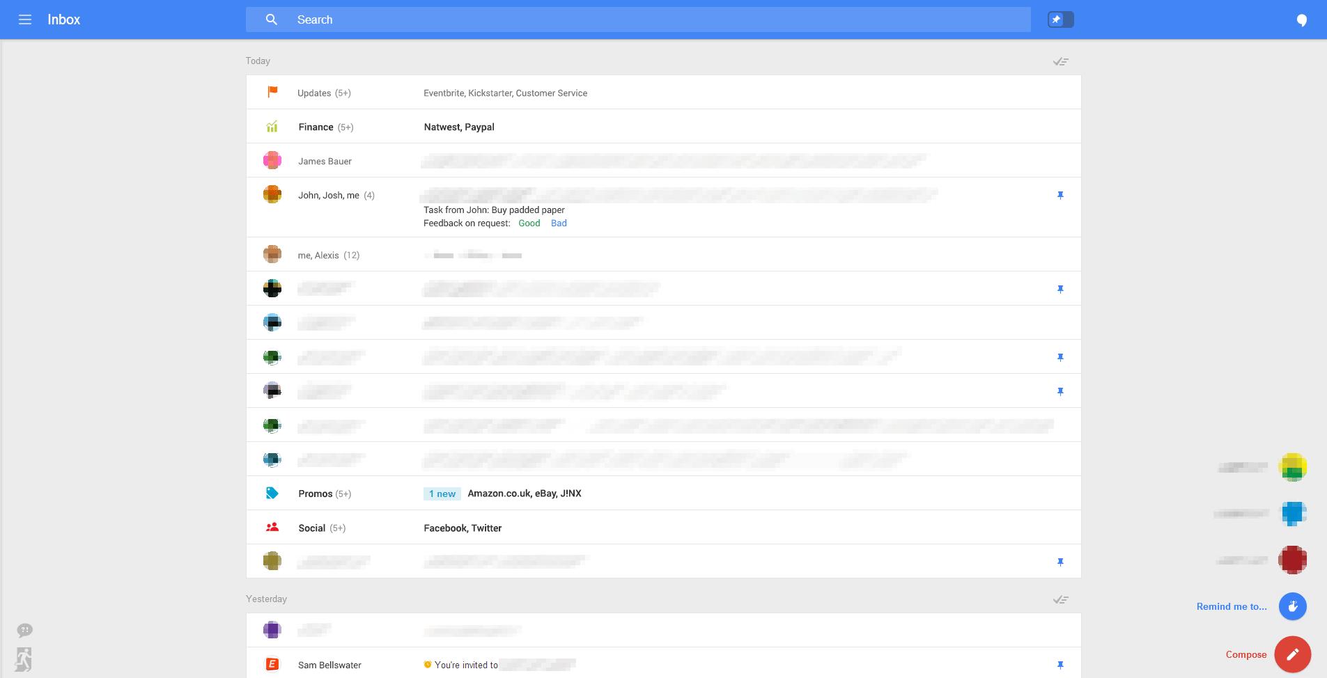 El nuevo diseño de Gmail, vía Geek.com