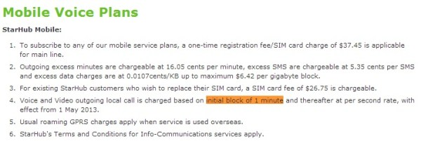 no more per second billing starhub