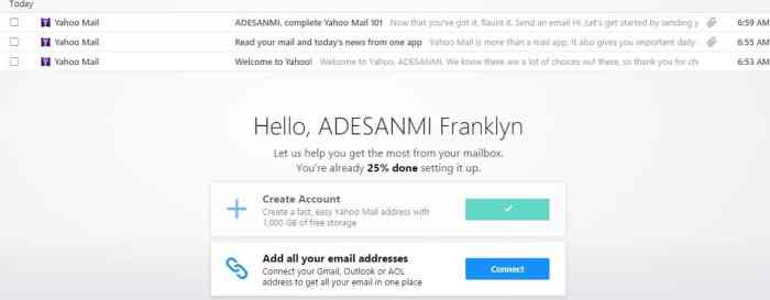 Yahoo Mail account login page
